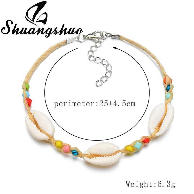 Shuangshuo 貝殻ロープチェーンブレスレットチャームブレスレット女性のためのシェルブレスレット & バングル夏ビーチファム宝石類のギフト