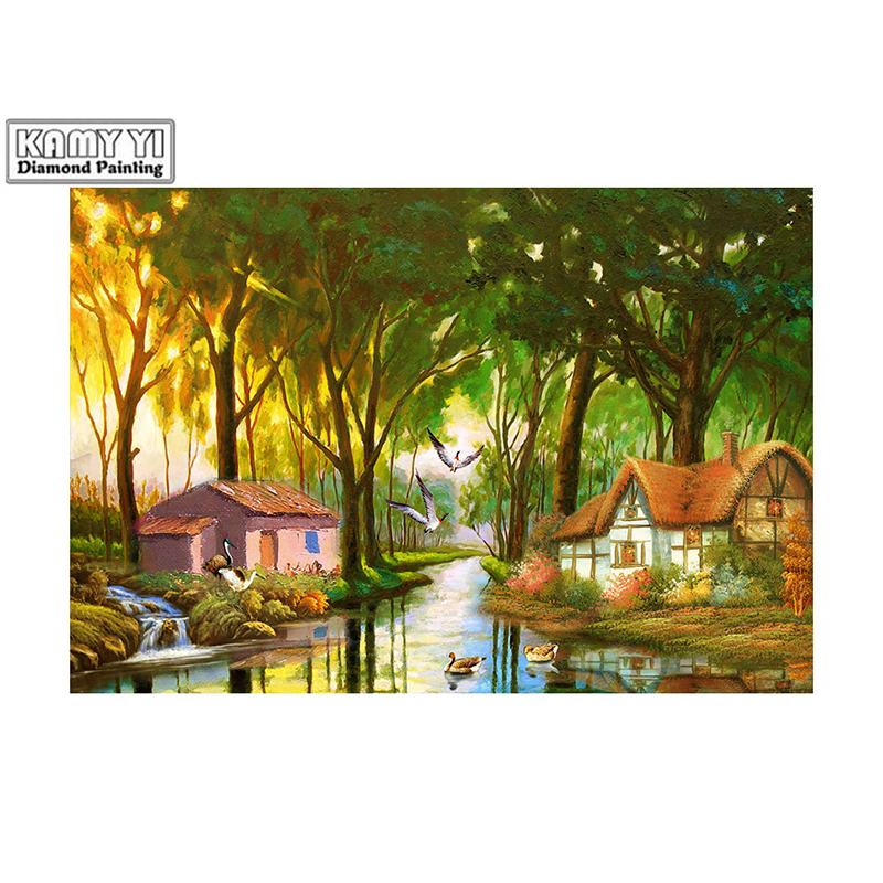 100% Full 5D Diy Square/Round Diamond Deep forest river hut 3D Diamond Painting Rhinestones Paintings Embroidery D2