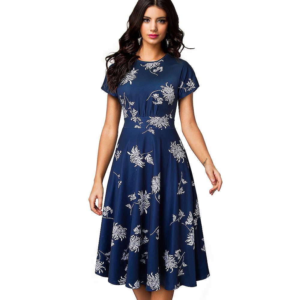 Хорошее-forever винтажное элегантное плиссированное платье с цветочным принтом и круглым вырезом, а-силуэт, Pinup, деловые вечерние платья для женщин, расклешенное платье, A102