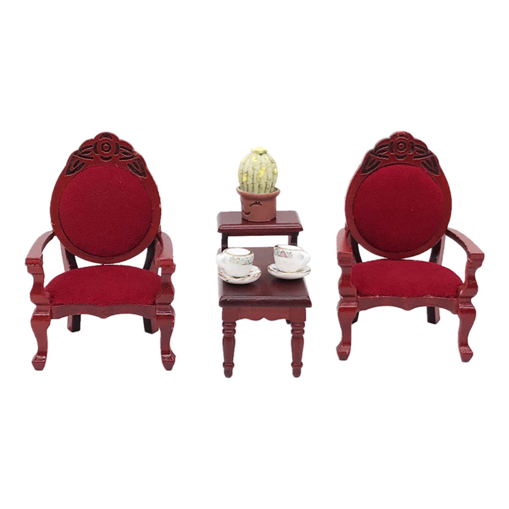 Doll House Accessory 1:12 Vintage Mini Dollhouse Furniture Carved Chairs Miniature Kids Pretend Play Toys A513
