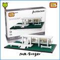 Г-н Froger LOZ Мини Блоки Фарнсворт Дом Модель Кирпичи Строительные Блоки Всемирно Известный Архитектура Обучающие Игрушки Для Детей