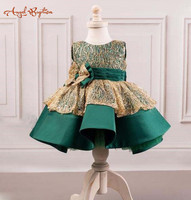 2018 new arrival emerald green and gold lace girl evening prom dresses little princess baby 1st birthday party gown with big bow