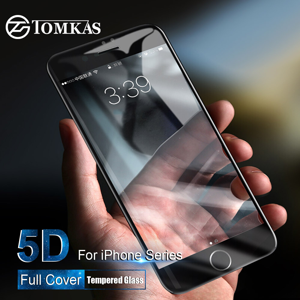 TOMKAS 5D Protective Glass for iPhone 6 6S 7 8 Plus X 10 Glass on iPhone XS MAX Screen Protector For iPhone 7 XR Tempered Glass