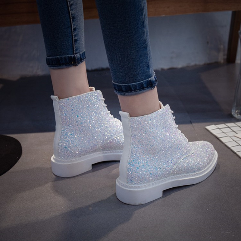 Women Glitter Lace up Ankle Boots  3