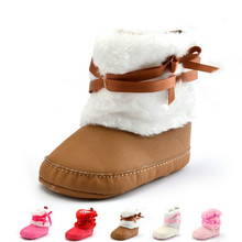 Winter Newborn Baby Girls Bowknot Shoes Soft Crib Shoes Toddler Infant Warm Fleece First Walker Baby Girls Shoes