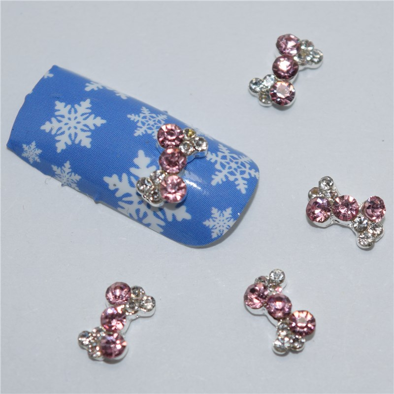 10psc New White pink bow intersections 3D Nail Art Decorations,Alloy Nail Charms,Nails Rhinestones Nail Supplies #508