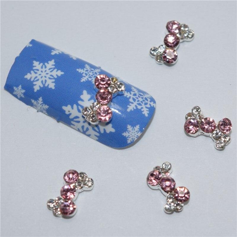 10psc New White pink bow intersections 3D Nail Art Decorations,Alloy Nail Charms,Nails Rhinestones Nail Supplies #508