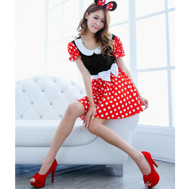 c0101ac90248a Cute Mouse Cosplay Costumes For Women Christmas Girl Uniform Xmas Party  Prom Dress Outfit With Headdress