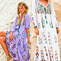 2017 Free shipping women's embroidery flower maxi long dress people fashion boho long dress fall bohemian hippie holiday dresses