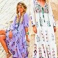 2017 bordados de flores das mulheres livres do transporte boho longo maxi dress pessoas moda longo dress queda boêmio hippie vestidos de férias