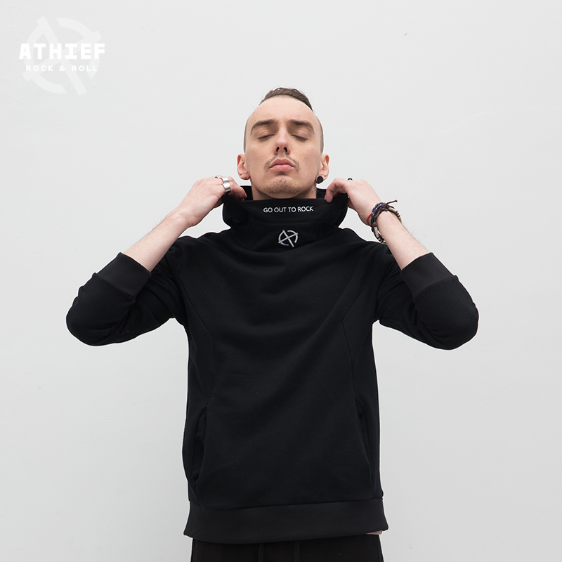 ATHIEF Hoodies man pure cotton embroidery male tide brand easy casual man