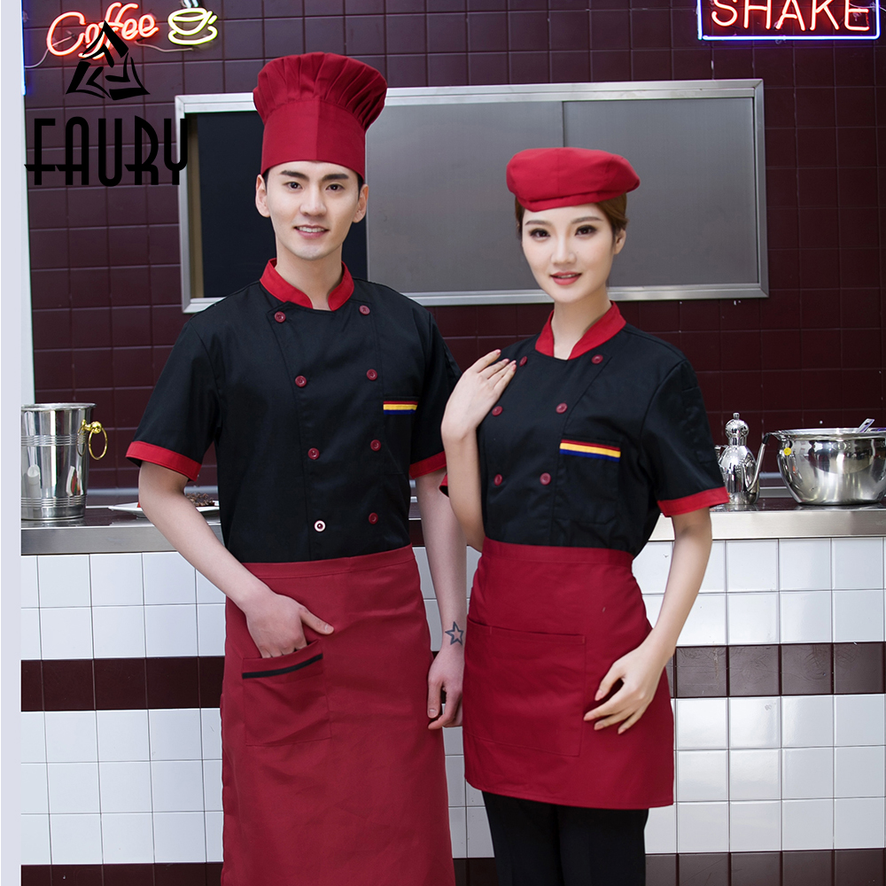Unisex Cafe Restaurant Kitchen Cooking Work Clothes Short Sleeve Casual Stitching Color Chef Hotel Waiter Uniforms Summer Jacket