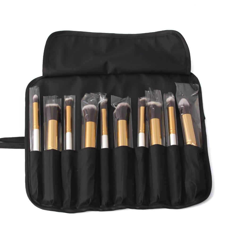 (10pcs/set) Lot Professional Makeup Brush Sets Foundation Kabuki Brushes Cosmetics Powder Lipstick Tools With Bag Gold/White