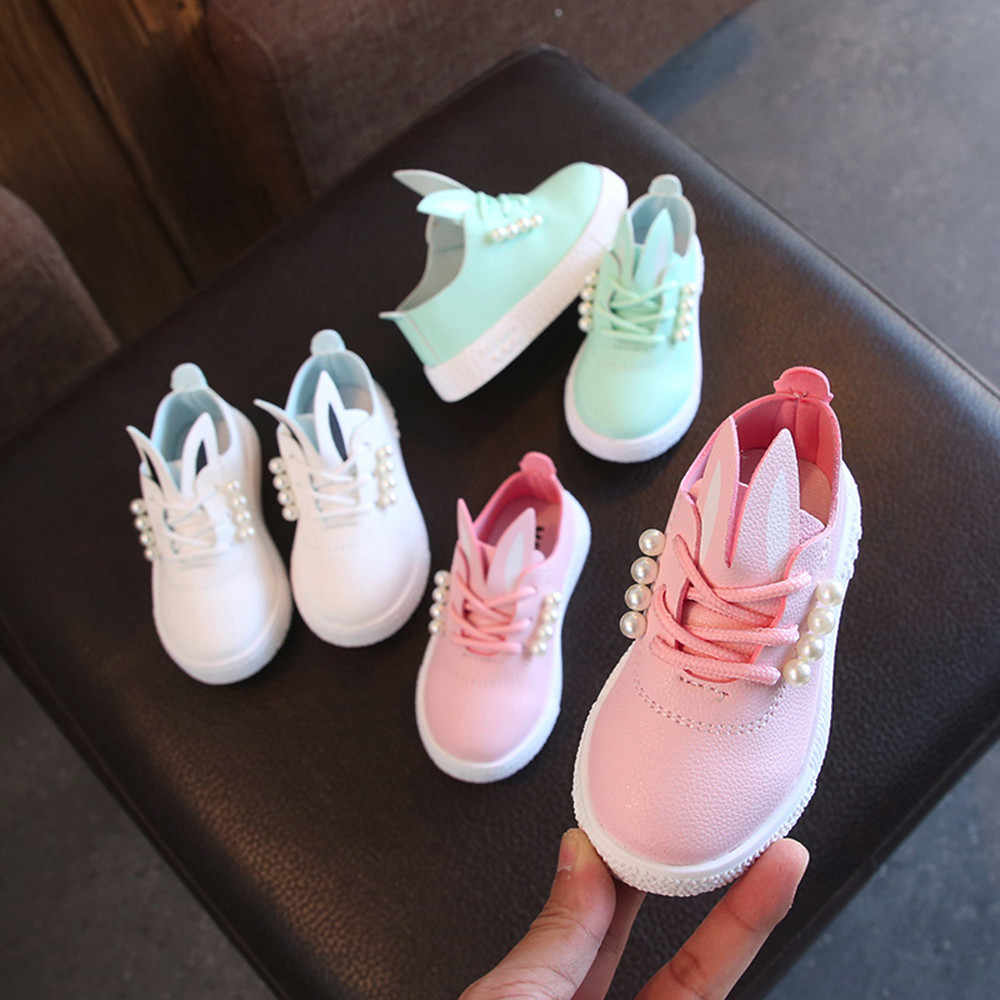 Kid Shoes Children Girls Casual Fashion Shoes Soft Anti-slip Girls Sneaker  Cartoon Cute Rabbit Pearls Single Shoes
