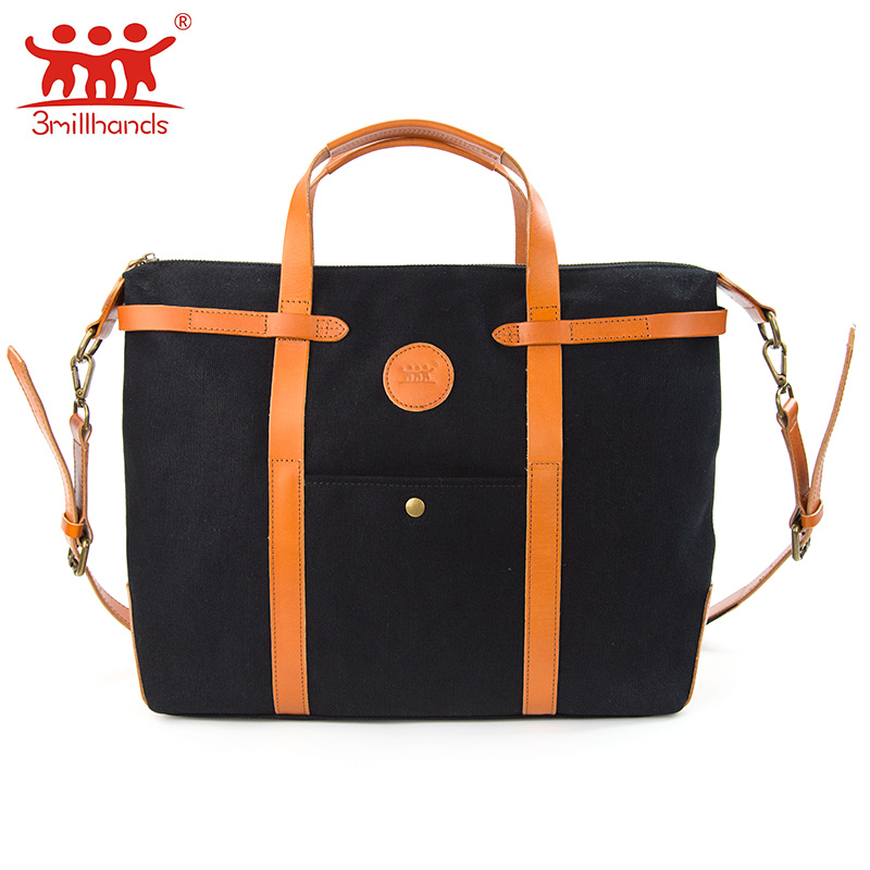 ФОТО Limited Edition 3Millhands 2017 black canvas men shoulder bags preppy style big messenger handbag cross body bag pu patchwork