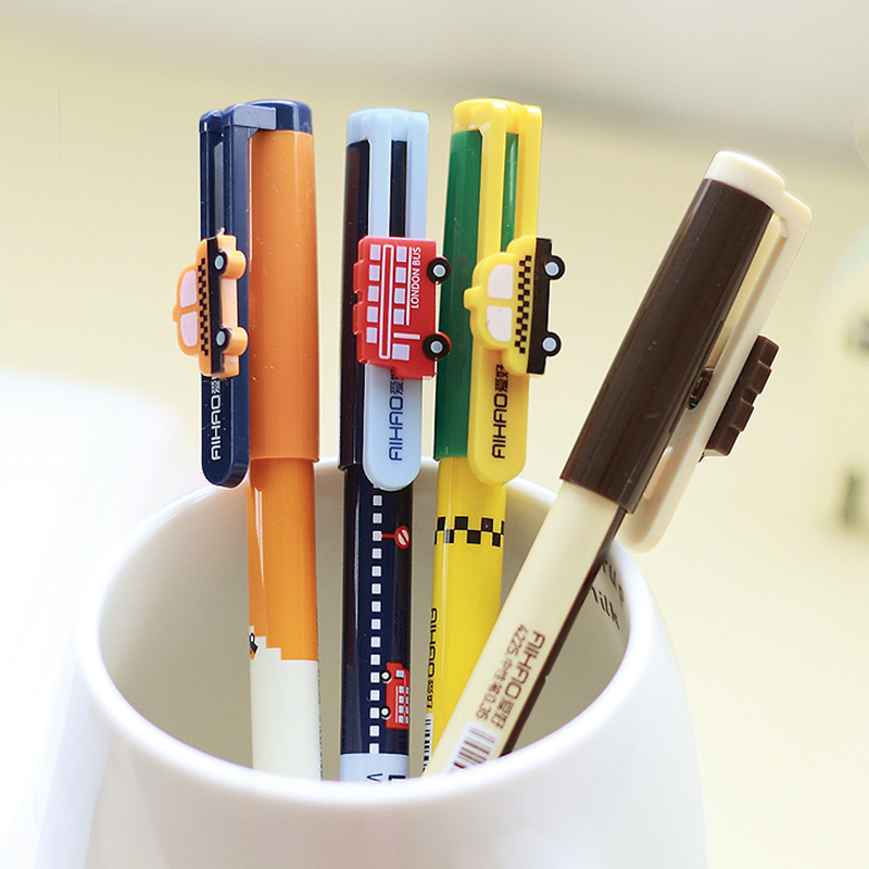 8 pcs/Lot Vintage city bus Gel pen New york Taxi London street Stationery Office accessories School supplies papelaria F104 1pc lot cute rabbit design memo pad office accessories memos sticky notes school stationery post it supplies tt 2766