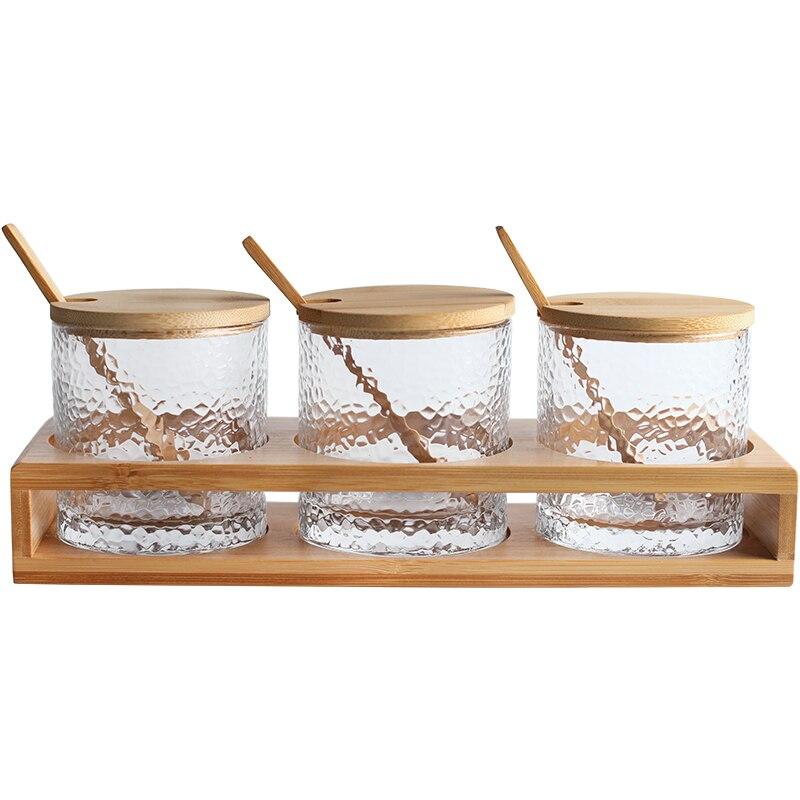 Ensemble de support de pot d'assaisonnement en verre de modèle de marteau japonais, boîte d'assaisonnement stockage de cuisine