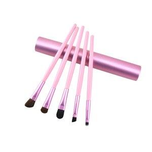 Image 3 - 5pcs Travel แบบพกพา Mini แปรงแต่งหน้าชุดแขนสั้นผู้หญิงอายแชโดว์ Eyeliner Eyebrow แปรง Lip Make Up ชุดแปรง