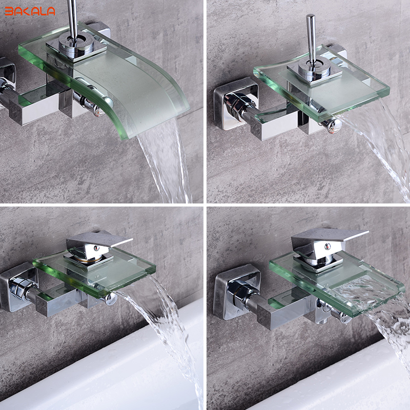 BAKALA Modern Waterfall Wall Mounted Bath Tub Filler Faucet Mixer Tap Chrome Finished free shipping polished chrome finish new wall mounted waterfall bathroom bathtub handheld shower tap mixer faucet yt 5333