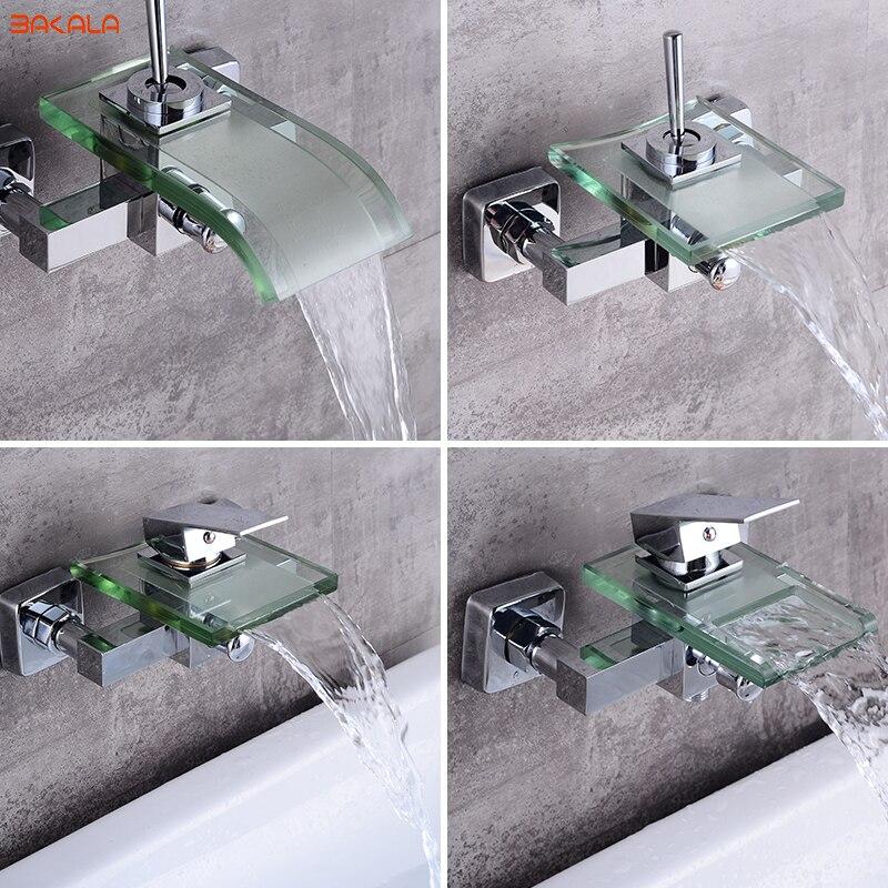 BAKALA Modern Waterfall Wall Mounted Bath Tub Filler Faucet Mixer Tap Chrome Finished