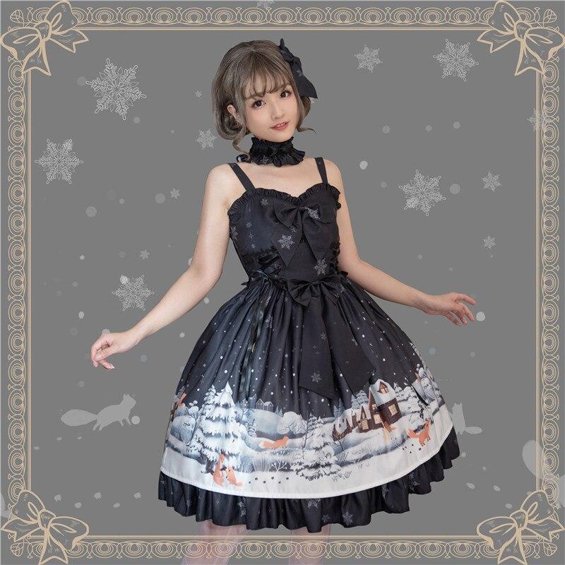 Quotidienne Party Doux Gants Sans Renard Robe ~ rouge Pré Manches Par Tea commande Noir Magic Petit L'achat Lolita bleu WFInwxO0Oq