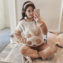 Winter coral fleece long-sleeved pajamas set Women cute cartoon bear animal coat flannel hooded trousers Pyjamas