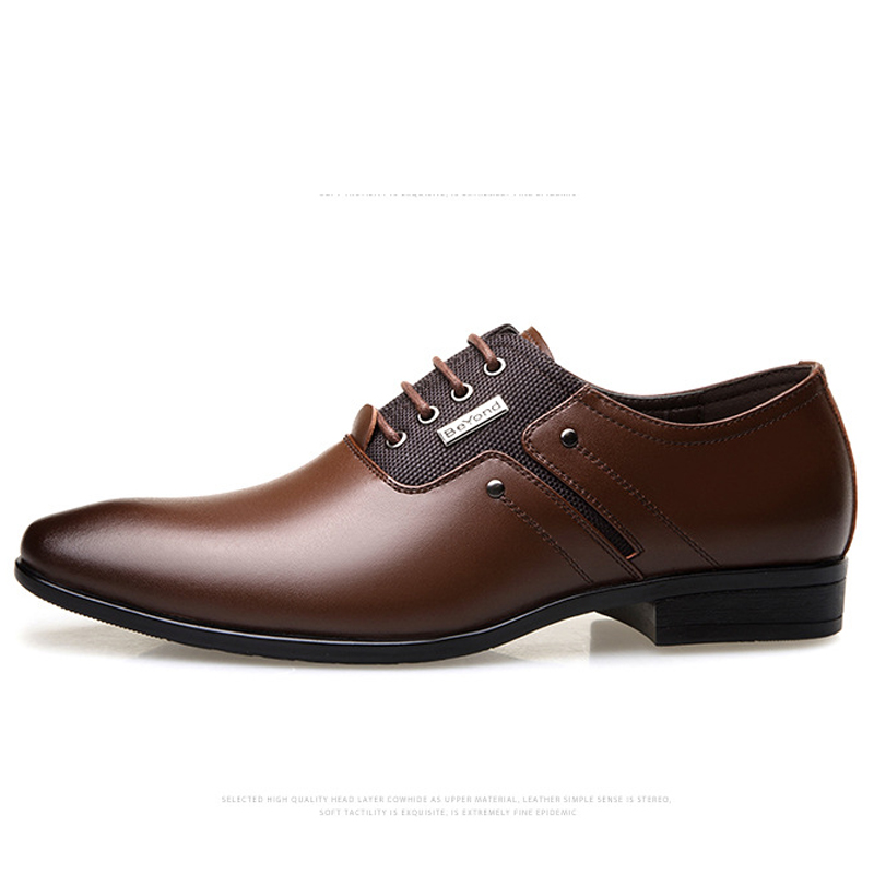 Big Size Men Dress Shoes Quality Men Formal Shoes Lace-up Men Business Oxford Shoes Brand Men Wedding Pointy Shoes D50