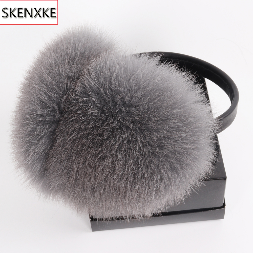 New Arrival Women Plush Genuine Fox Fur Earmuff Winter Lady Big Pompoms Fox Fur Fluffy Earmuffs Warm 100% Real Fox Fur Ear Cover