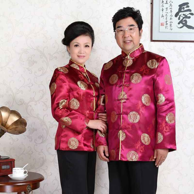 Traditional Chinese Clothing Men Aged Old Autumn Women Lovers Costume Grandpa Grandma Birthday Wedding Loose Coat Cheongsam Top