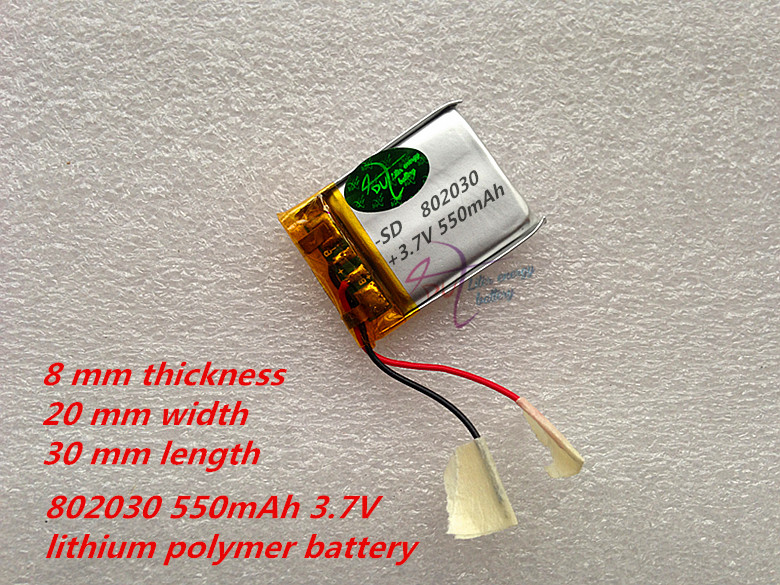 Liter energy battery 1pcs/lot 802030 550mAh 3.7V lithium polymer battery MP3 MP4 MP5 Li ion massager battery liter energy battery 3 7v polymer lithium battery 401215 mp3 mp4 60mah bluetooth headset small toy sound