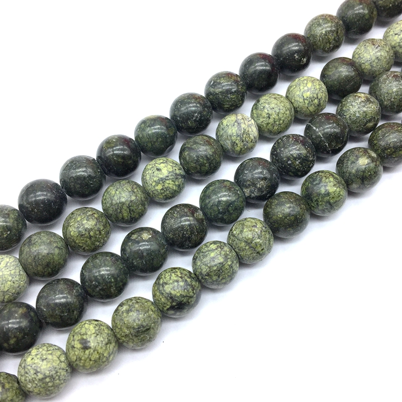 Natural Russian Serpentine Stone Smooth Round Beads Strings 6 mm 8 mm 10 mm 12 mm For DIY Jewelry Making(China)