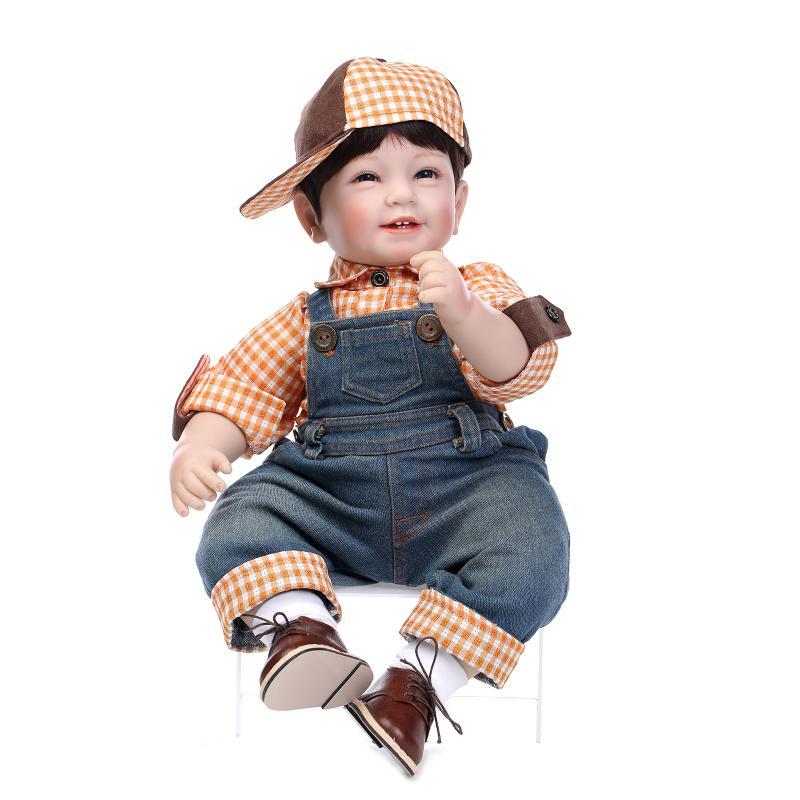 NPK 55cm Silicone Reborn Baby Doll Toys Lifelike Soft Cloth body Newborn babies bebes Reborn doll