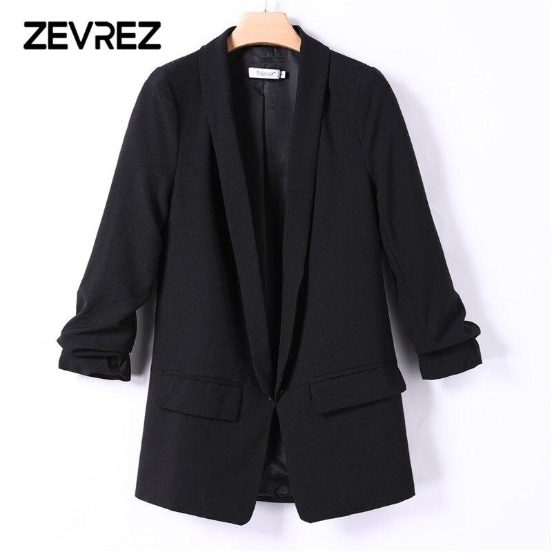 6 couleurs Blazer Femmes Slim Blanc Noir Blazer Sertissage Manches Aucun Bouton Travail Bureau Dames Blazer Veste Plus La Taille 5XL zevrez