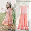 Розничная 3 Т до 12 лет дети и подросток большие девочки бежевый розовый рукавов твердые макси платье ребенок принцесса партия рюшами flare платье