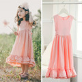 Retail 3T to 12 years kids & teenager big girls beige pink sleeveless solid flare maxi dress child princess party ruffle dress