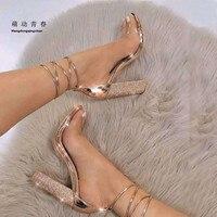 2018 Fashion Women Sandals Snake Print Crystal High Heels Shoes Woman Open Toe Summer Sandalias Thick