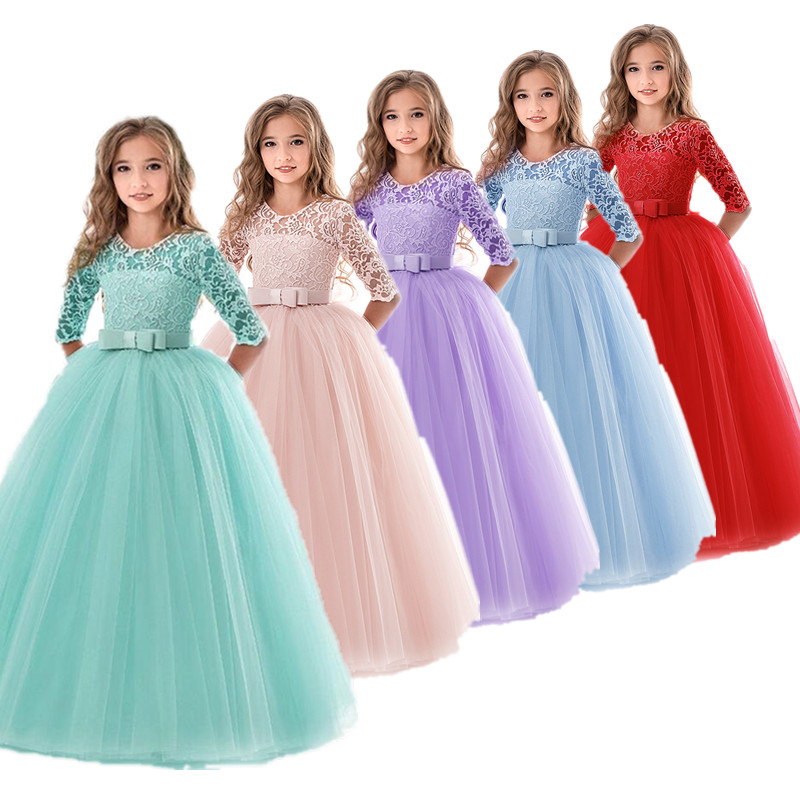 Girls Wedding Kids Dresses For Girl Party Dress Lace Princess Summer Teenage Children Princess Bridesmaid Dress 8 10 12 14 Years