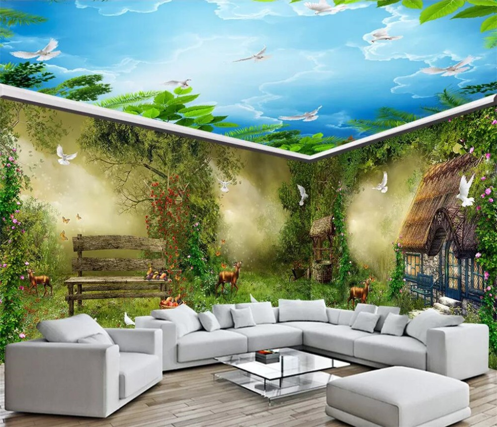 Home Improvement Fairy Tale Green Fantasy Abstr 3d Full Wall Mural Photo Wallpaper Home Decal Kid Building Hardware