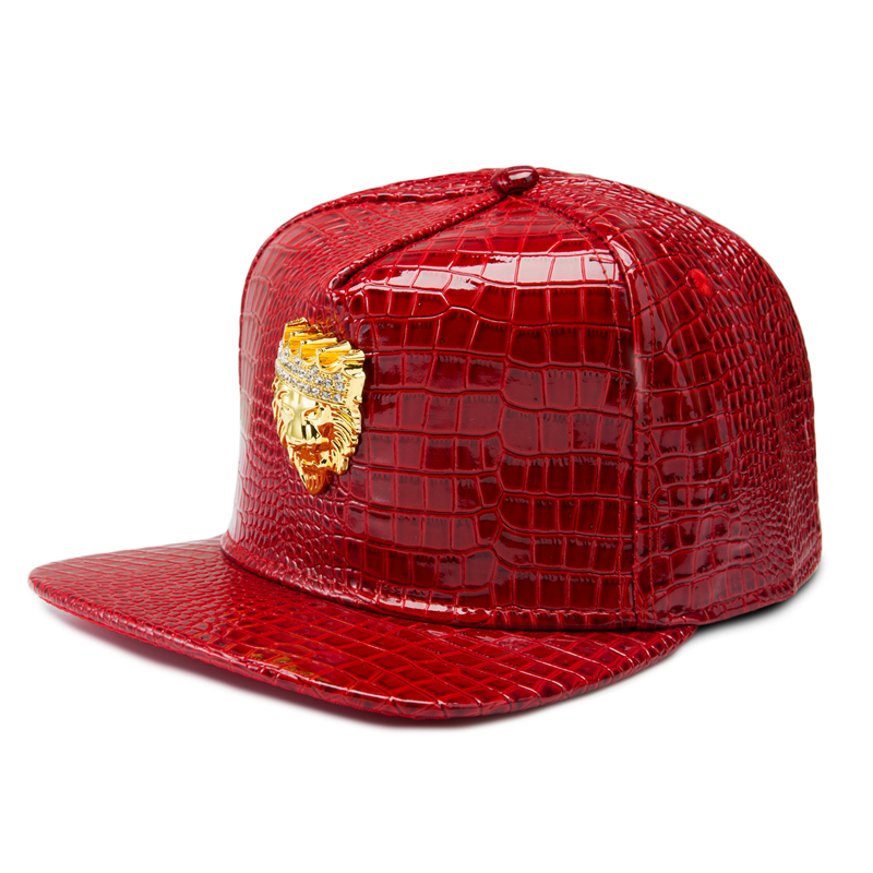 black baseball cap trend trendy crystal crown lion head hip hop flat brimmed personality leather hats 2017