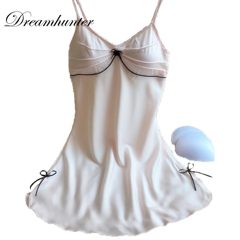 Women Silk Nightgowns Sleepwear Young <font><b>Girl</b></font> Sweet Bow <font><b>Night</b></font> <font><b>Dress</b></font> <font><b>Sexy</b></font> Summer Nightwear Nightdress drop shipping image