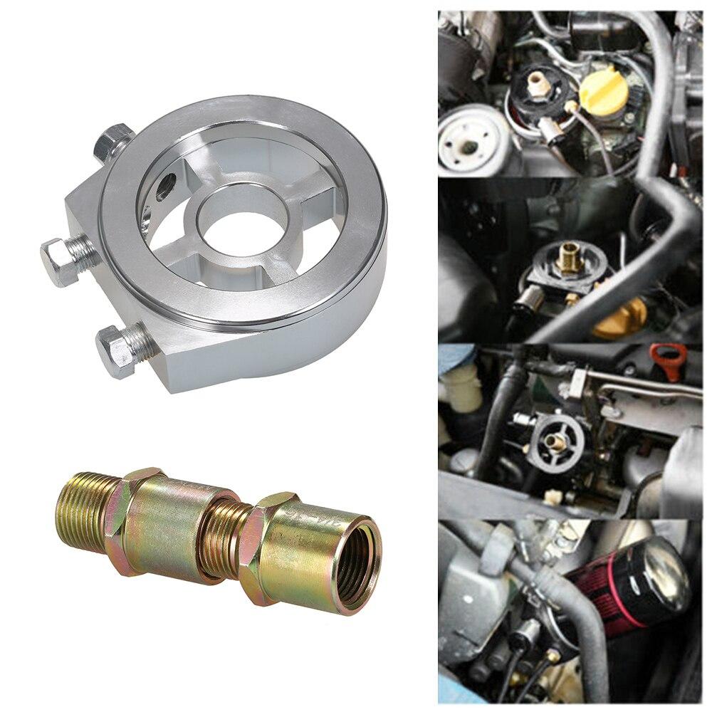 Universal Oil Filter Cooler Sandwiched Plate Oil Pressure Temp Gauge Adapter Kit