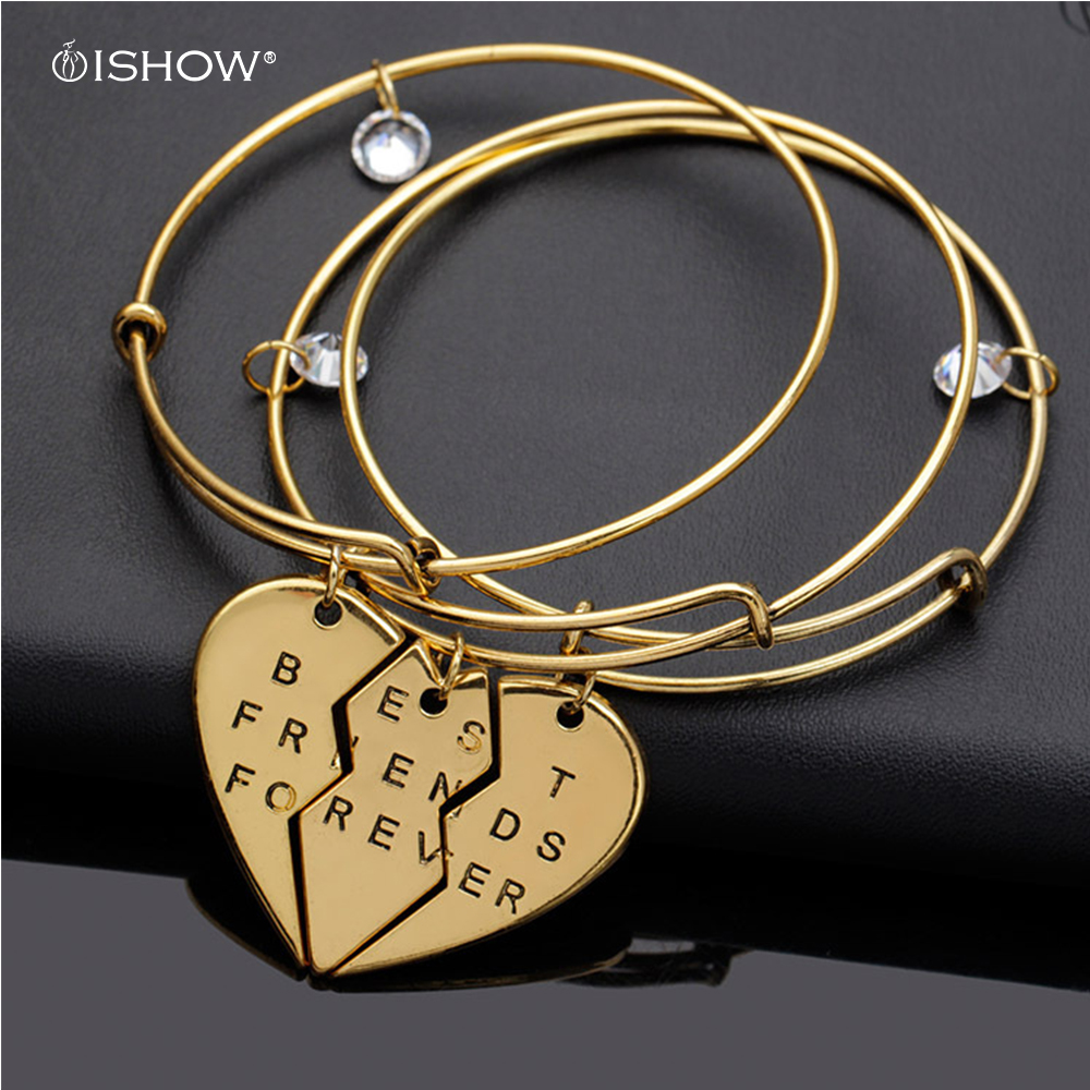Popular Bangle Bracelets: Gold Color Chain Bangles Half Heart Letter Partners In