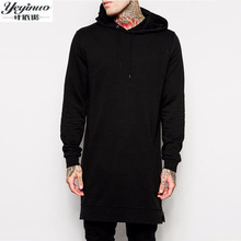 2017 neue Ankunft Freies Verschiffen Mode Männer Lange Schwarz Hoodies Sweatshirts T-stück Mit Seitlichem Reißverschluss Longline Hip Hop streetwear hemd