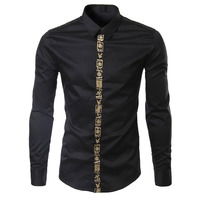 Luxury Brand Men Shirt Chemise Homme 2016 Fashion Embroidery Eagle Slim Fit Mens Long Sleeve Dress