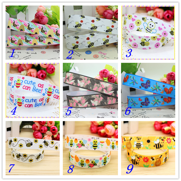 78'' Free shipping butterfly ladybug bee printed grosgrain ribbon hairbow headwear party decoration diy wholesale OEM 22mm S268