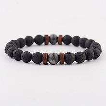 Vintage Black Lava Stone Bracelets Men
