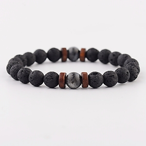 Image 4 - Amader Vintage Black Lava Stone Bracelets Men Meditation Natural Wood Beads Bracelet Women Prayer Jewelry Yoga Dropshipping