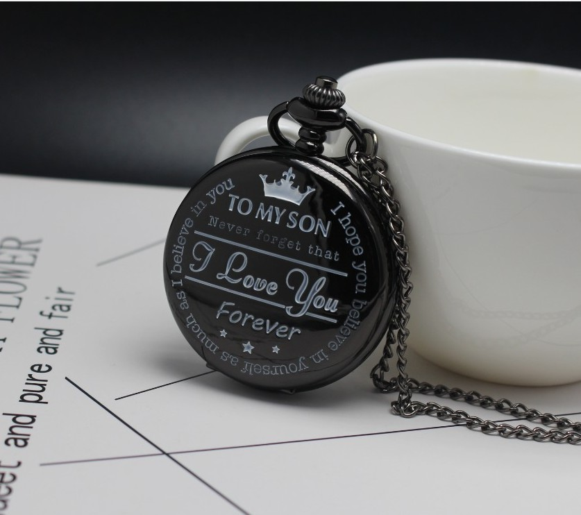 Vintage To My Son Quartz Pocket Watches With Gold Silver Black Neckalce Pendant Fob Clock With Chain For Children Son Gifts