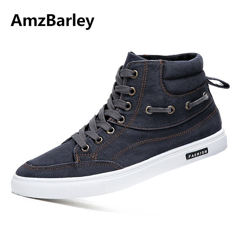 AmzBarley Men Shoes Flats Shoe Canvas Denim Footwear Lace Up High Top Casual Trainers Male Hip Hop Zapatillas Deportivas Hombre casual dancing sneakers hip hop shoes high top casual shoes men patent leather flat shoes zapatillas deportivas hombre 61