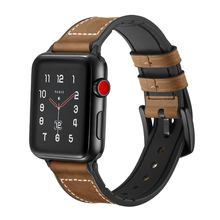 лучшая цена BEAFIRY Genuine Leather+Silicone Rubber for Apple Watch Band 42mm 38mm Watch Straps  for iwatch 3/2/1 for Men Women Watchbands